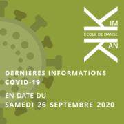 Dernières informations - Covid-19 - 26 septembre 2020